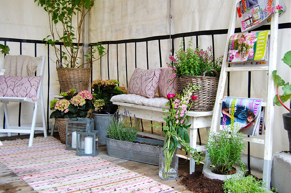 پاسیو زیبا با گل و گیاه-گل من و تو