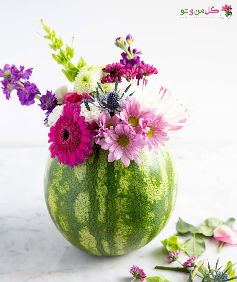 ساخت گلدان با هندوانه - گلدان هندوانه ای