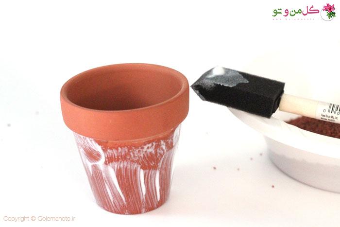 ایده تزیین گلدان با ماسه و شن رنگی