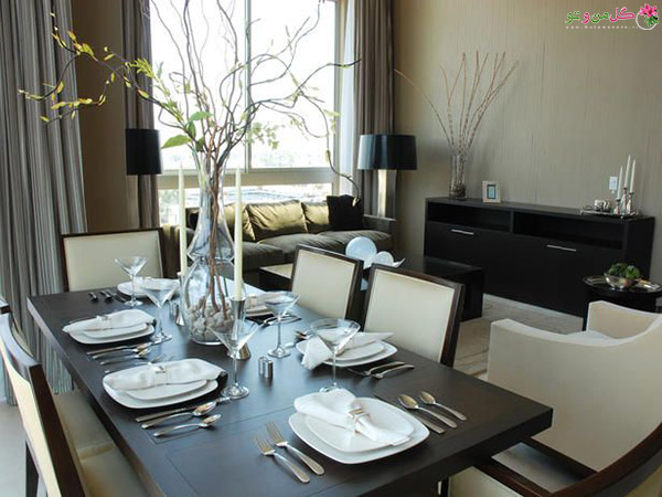 interesting decoration dining room decor ideas pinterest contemporary dining rooms from ammie kim on hgtv dark wood table light chairs touch of nature in the centerpiece and on the server شیکترین تزیین میز نهارخوری + مدل های 2018