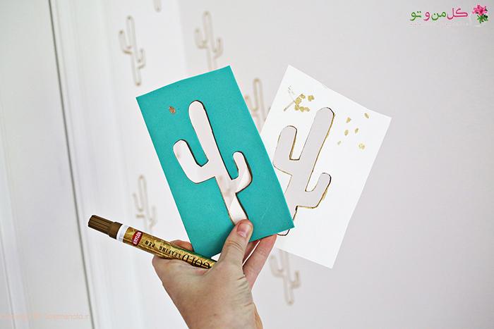 مواد  لازم برای ساخت کاغذ دیواری کاکتوس طلایی