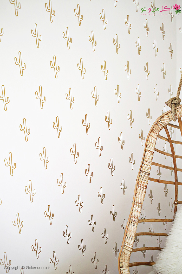 کاغذ دیواری کاکتوس طلایی