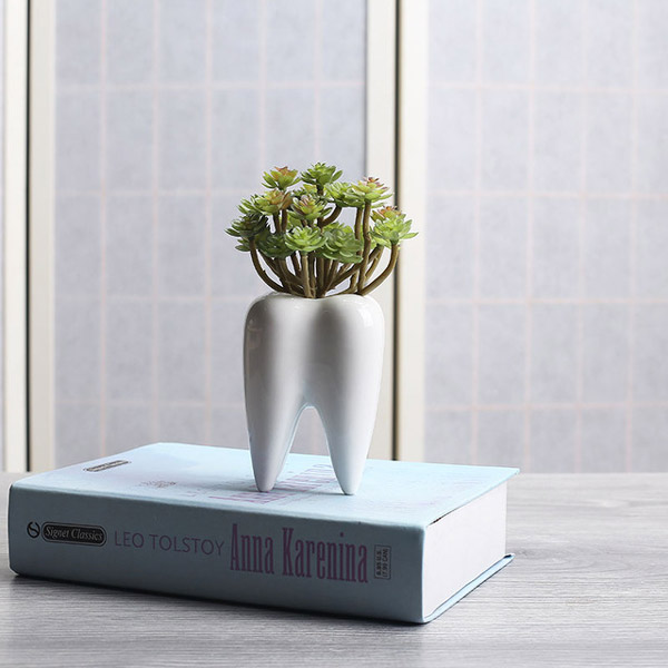 I pc Tooth Shape White Ceramic Flower Pot Modern Design Planter Teeth Model Mini Desktop گلدان های خاص مخصوص دکوراسیون خاص