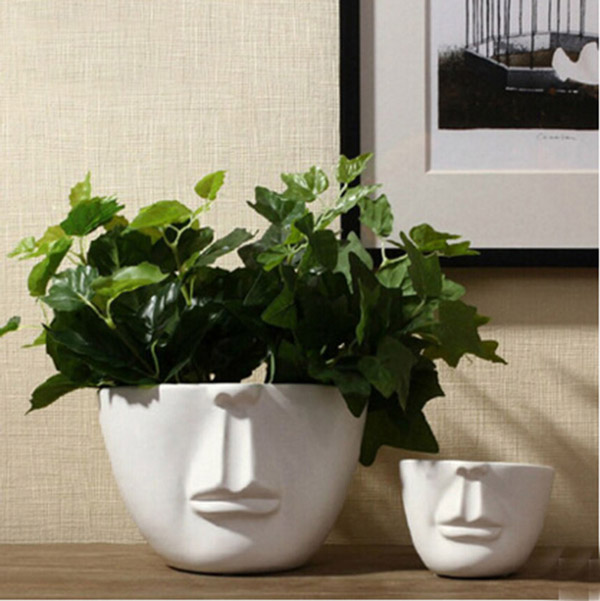 Man face flower pots planters home decoration modern desktop decor bar shop creative DIY gifts white گلدان های خاص مخصوص دکوراسیون خاص