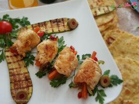 طرز تهیه رول فیله مرغ به همراه کدو و سبزیجات