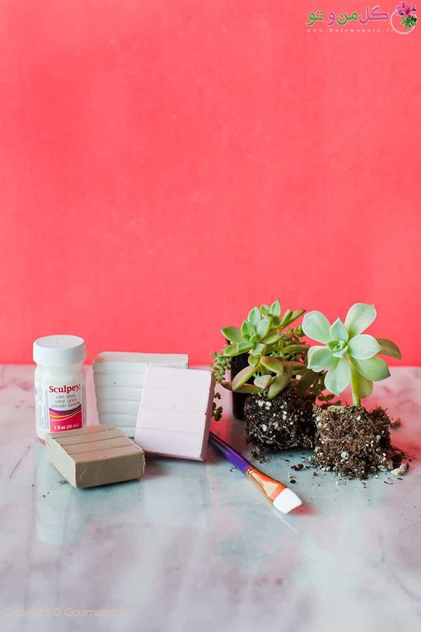 لوازم مورد نیاز ساخت گلدان با خمیر پلیمیر