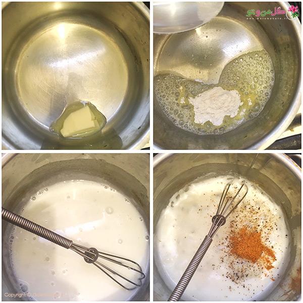 مراحل آماده کردن کاپ مرغ و پنیر