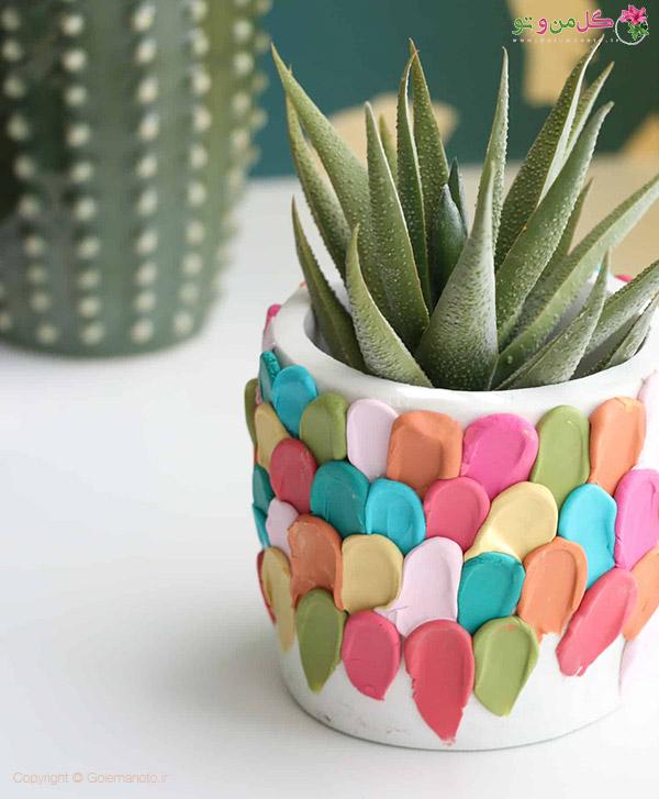 تزیین گلدان با خمیر پلیمری