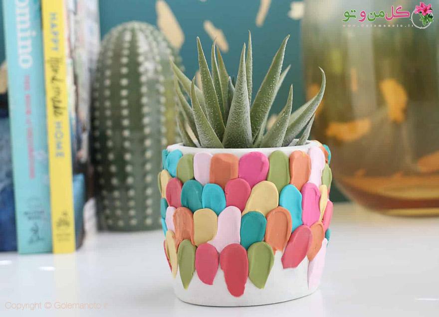 زیبا سازی گلدان با خمیر پلیمری