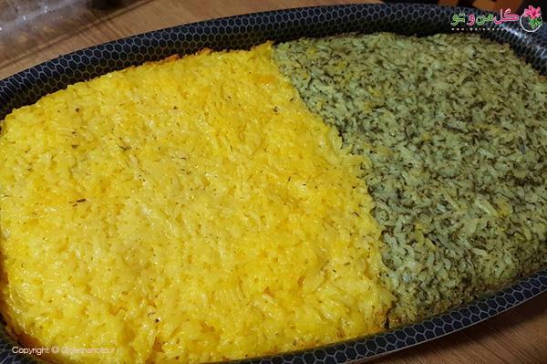 طرز تهیه ته چین دو رنگ ماهی