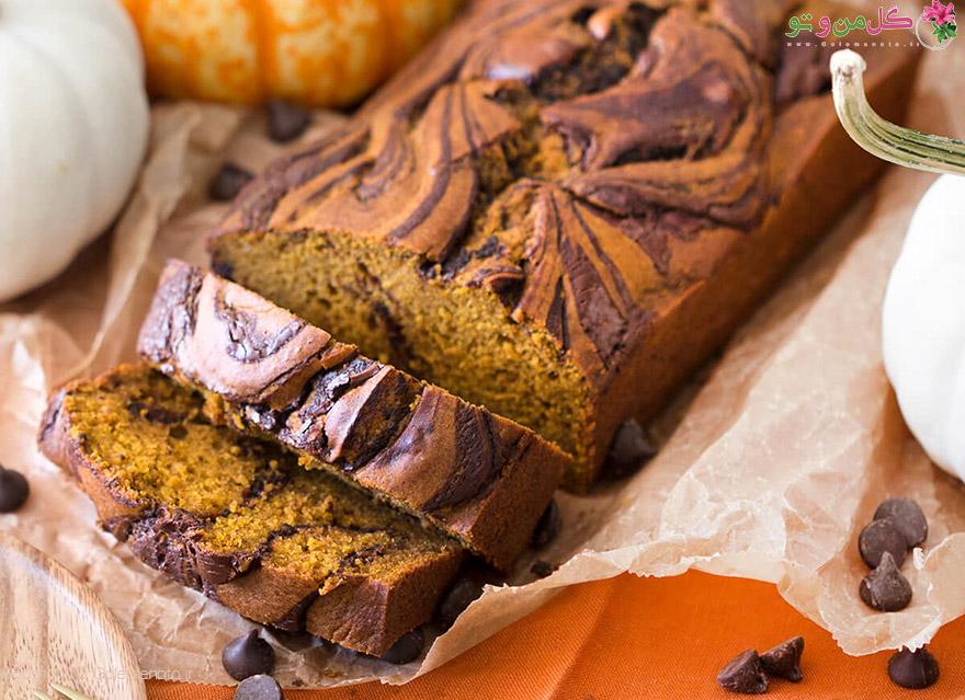 pumpkin swirl bread feature طرز تهیه نان خیس کدو حلوایی شکلاتی
