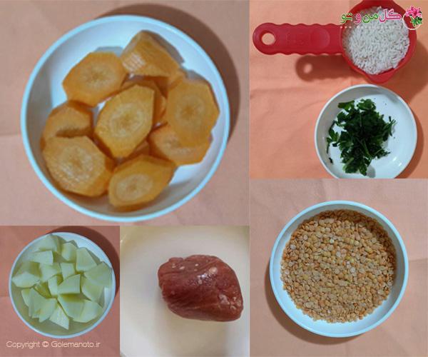 مواد لازم برای تهیه سوپ دال عدس رسپی