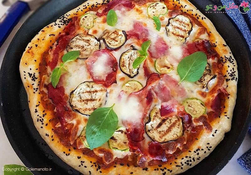 طرز تهیه پیتزا سبزیجات با خمیر ایتالیایی