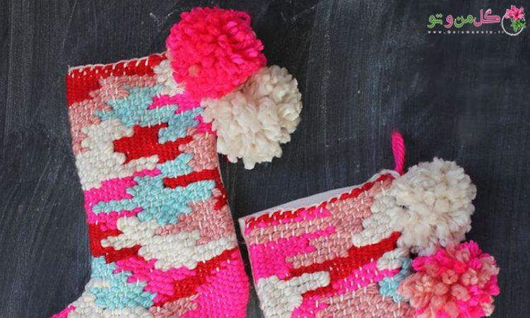 آموزش بافت جوراب کاموایی