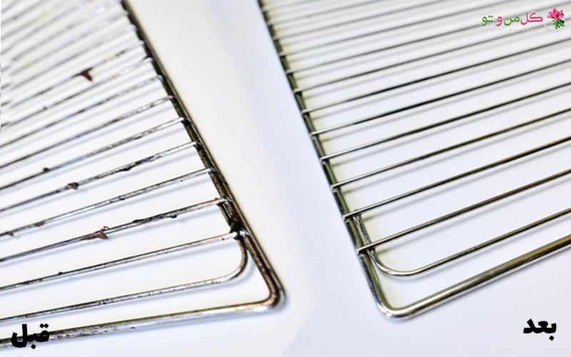 Clean Oven Racks 1 چطور شبکه فر را بدون مواد شمیایی تمیز کنیم؟
