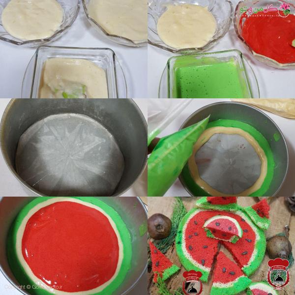 مراحل کیک هندوانه اسفنجی شب یلدا
