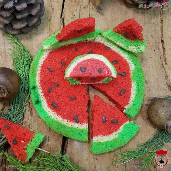 کیک هندوانه اسفنجی شب یلدا + کاپ کیک
