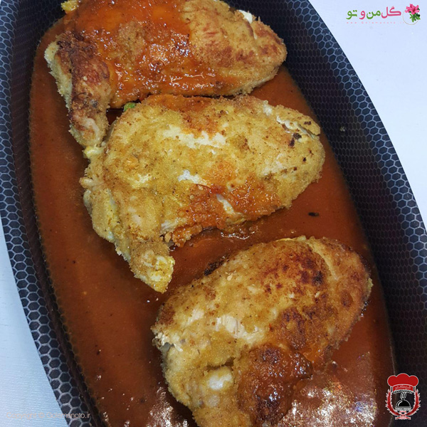 سینه مرغ پر شده و سرخ شده