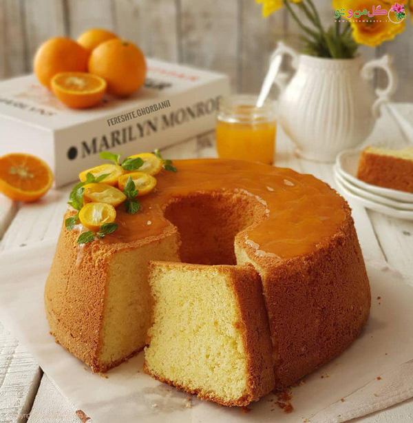 کیک پرتقال با سس پرتقال