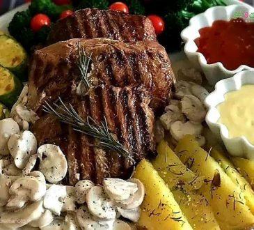طرز تهیه استیک با سس قارچ