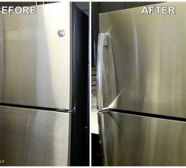 تمیز کردن در یخچال استیل با مواد خانگی