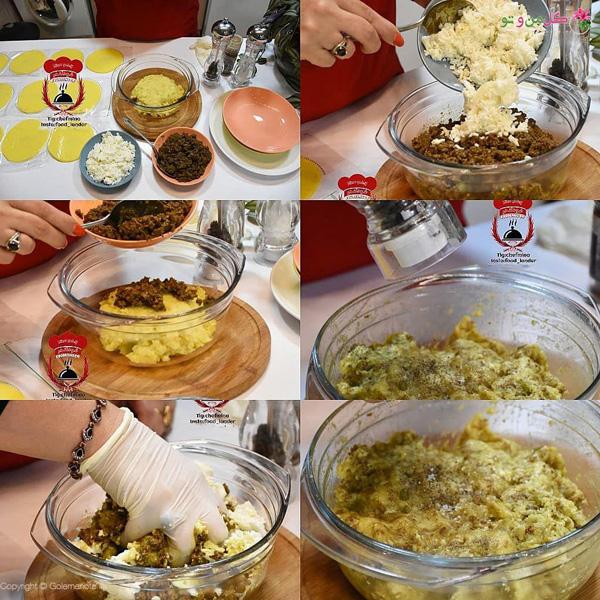 مراحل تهیه بورک گلی و صدفی