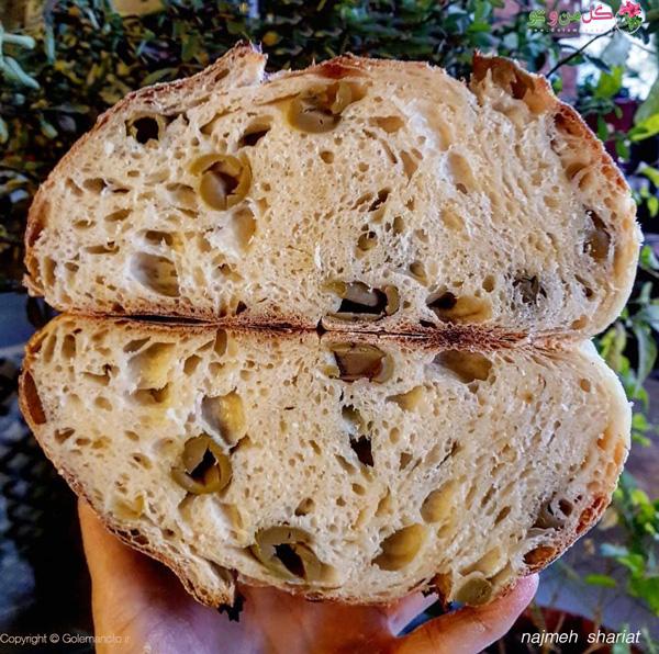 بافت نان زیتون با خمیر ترش