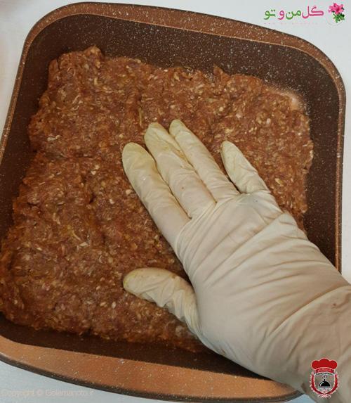 اضافه کردن گوشت به کف قاب