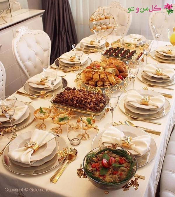 تزیین سفره افطار روی میز
