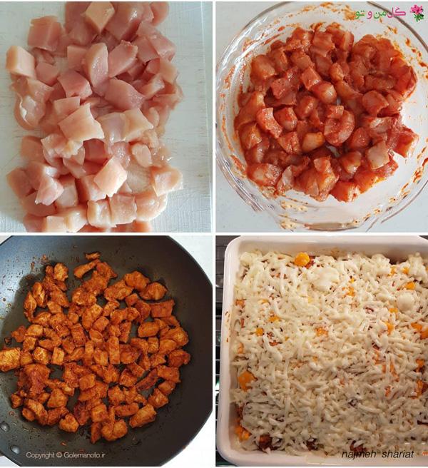 طرز تهیه کاسترول مرغ و سیب زمینی