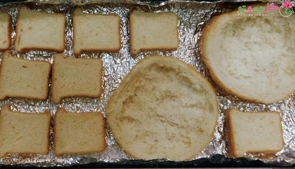 برش نان تست و همبرگر