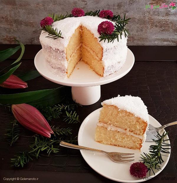 کیک نارگیلی با کرم پنیری