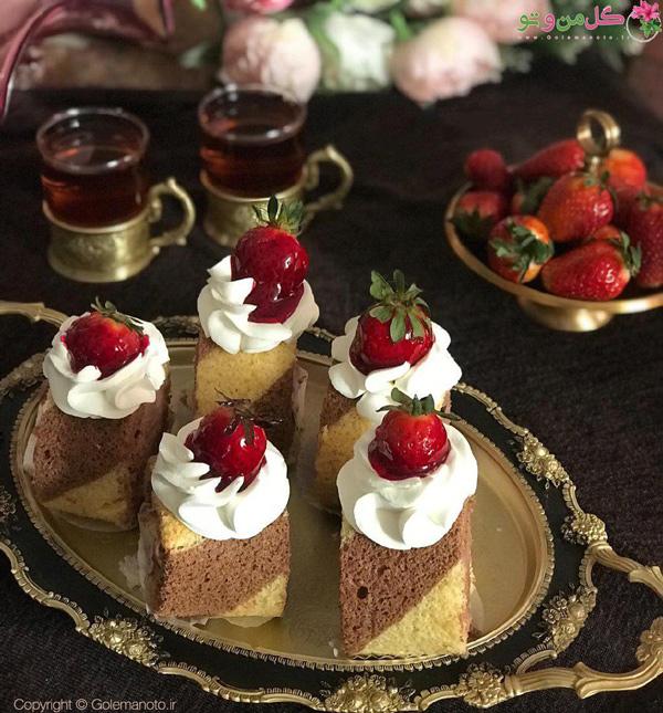رولت وانیلی شکلاتی با خامه