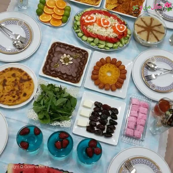 تزیین سفره افطاری حلوا و زولبیا