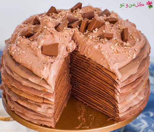 کرپ کیک بیست لایه شکلاتی