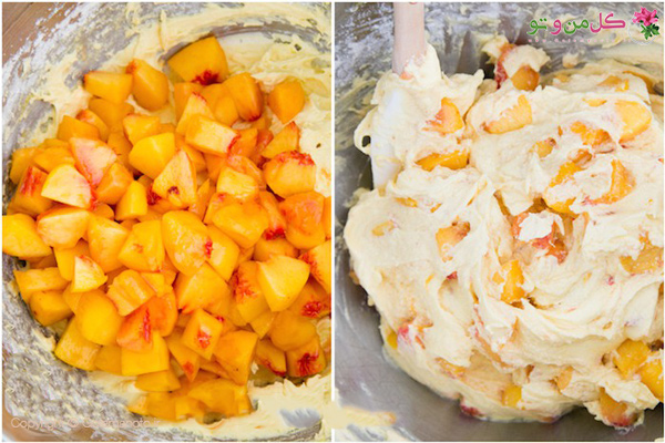 مخلوط کردن هلو و خمیر