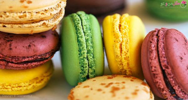 رنگ های مختلف شیرینی ماکرون