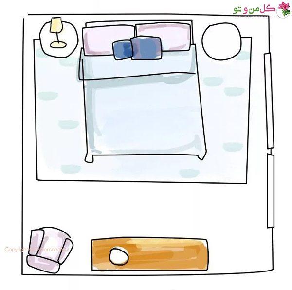 چیدمان اتاق خواب با اندازه معمولی