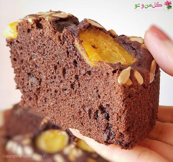 کیک شکلاتی زردآلو