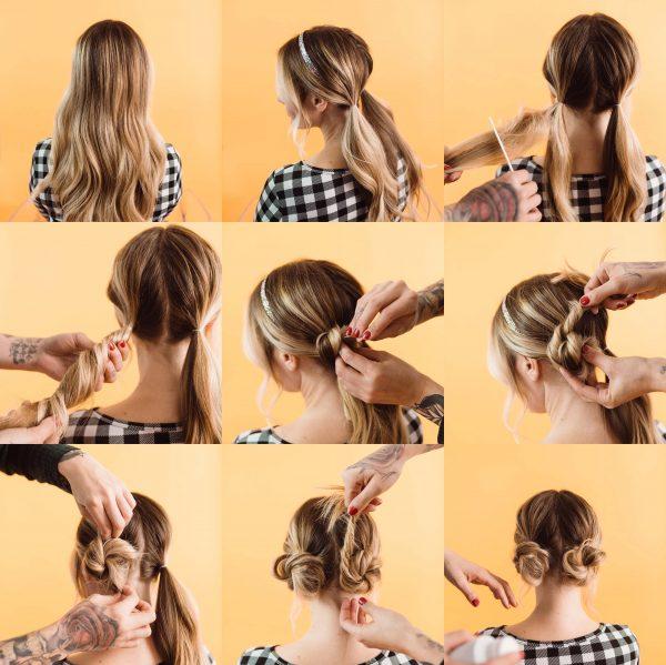 مدل ساده شنیون موی بلند
