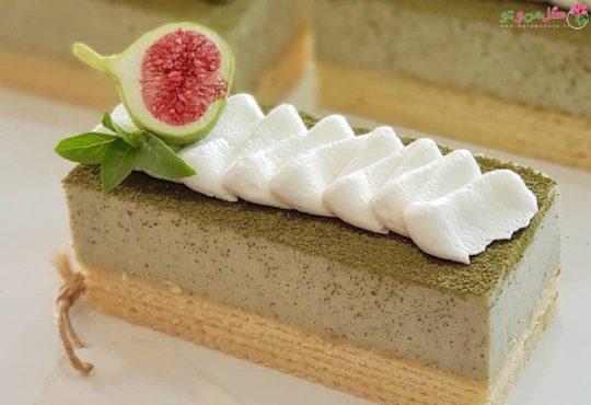 طرز تهیه چیز کیک ماچا با ویفر موزی