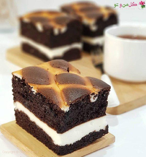 کیک شیفون شکلاتی لایه ای