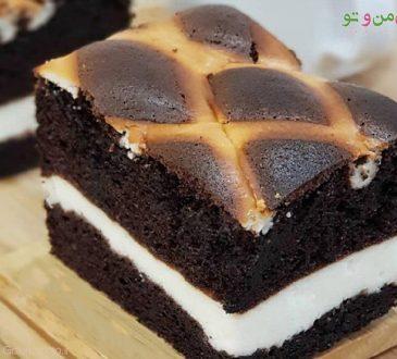 طرز تهیه کیک شیفون شکلاتی لایه ای
