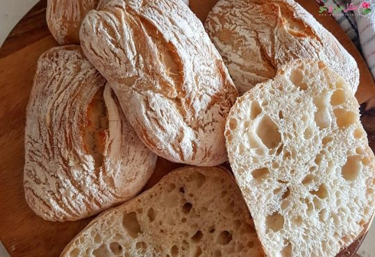 طرز تهیه نان چاباتا با خمیر ترش