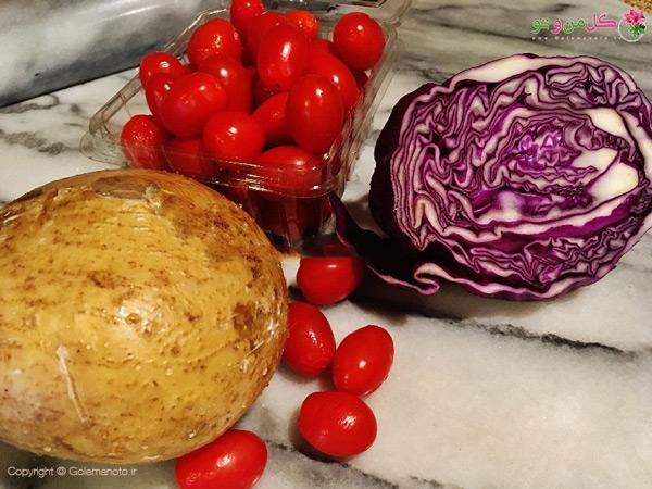 مواد لازم برای تهیه سالاد سیبزمینی مکزیکی