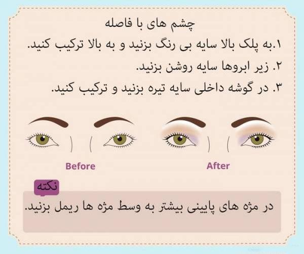 نحوه آرایش چشمان با فاصله