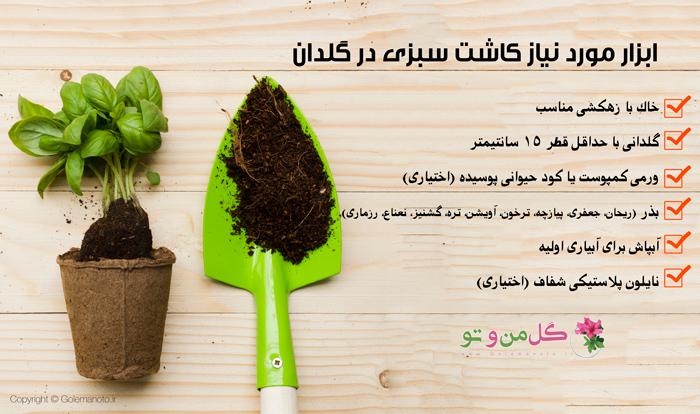 وسایل مورد نیاز کاشت سبزیجات در گلدان