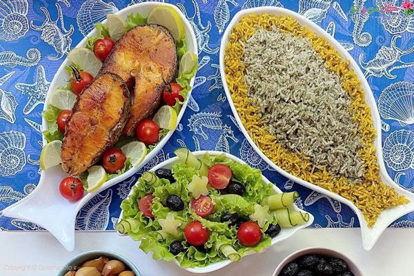 غذاهای برنجی - سبزی پلو با ماهی