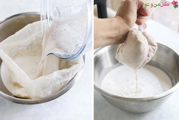 رد کردن شیر بادام از صافی