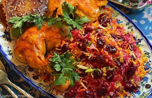 آلبالو پلو با مرغ غذای مجلسی